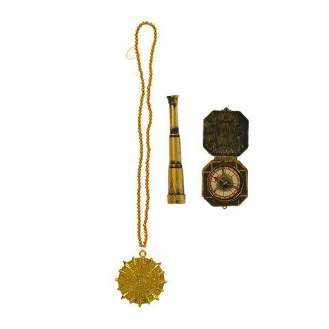 Набор пирата 3 предмета: труба, медаль, компас