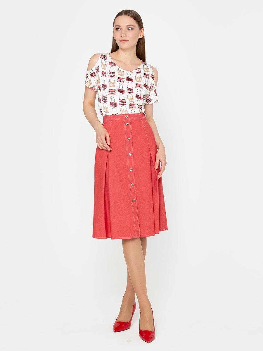 Юбка Б070-113 - Стильная юбка с мягкими встречными складками, боковыми карманами, застежкой на пуговицы. Выполнена из джинсовой ткани. Отделка - контрастные отстрочки.