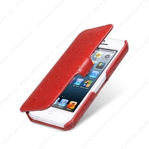 Чехол-книжка Melkco для iPhone SE/ 5s/ 5C/ 5 Leather Case Booka Type (Ostrich Print pattern - Red)