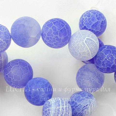 Бусина Агат цветочный матовый (тониров), шарик, цвет - васильковый, 10 мм, нить (темные)