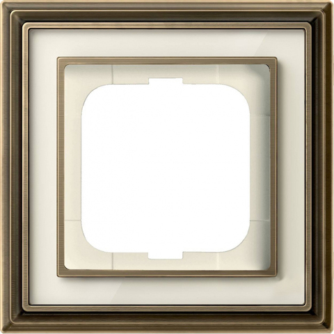 Рамка на 1 пост. Цвет Латунь античная, белое стекло. ABB(АББ). Dynasty(Династия). 1754-0-4580