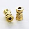 Бусина металлическая трубочка (цвет - античное золото) 15х9 мм