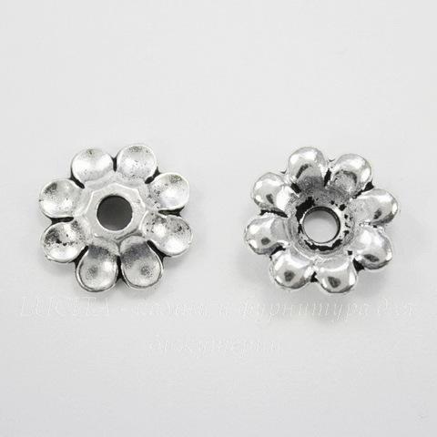 "Элемент под заклепку TierraCast ""Цветок"" 11 мм (цвет-античное серебро)"