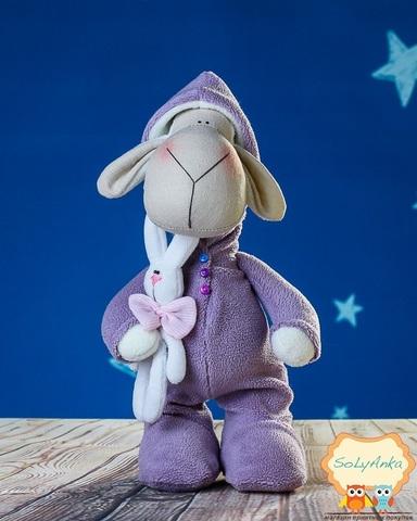 Пижамная овечка лавандовая с зайкой