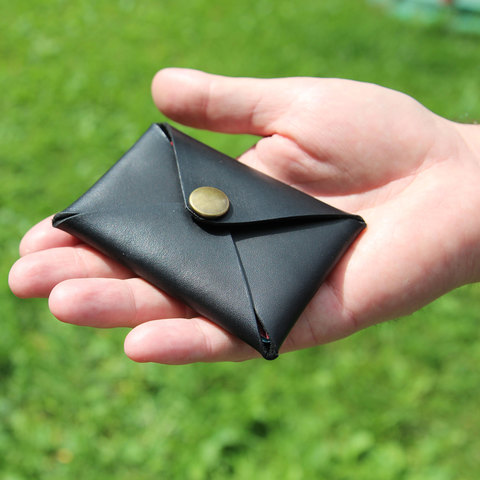 Card holder черный ручной работы. Made in Moscow. Black handmade wallet.