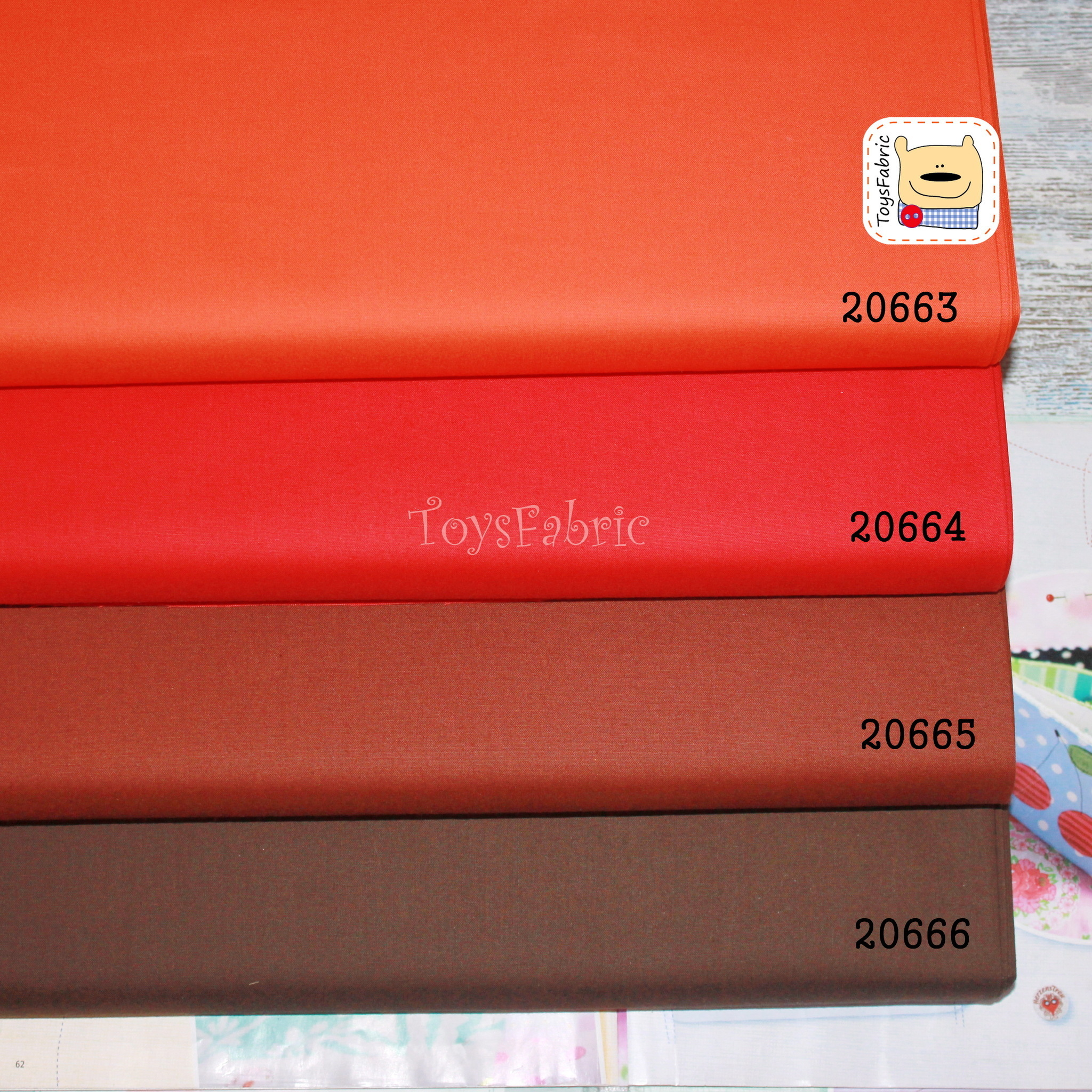 Ткань для пэчворка 20664 (однотонный красный) 45х55см