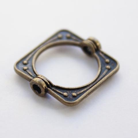 Рамка для бусины квадратная 15х14 мм (цвет - античная бронза)