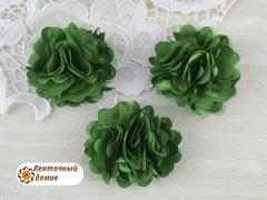 Цветы атласные с фатином зеленые диаметр 5 см
