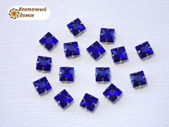 Камень квадрат в цапах 8 мм синий
