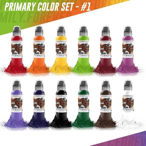 Краска  World Famous Tattoo Ink Color Primary Set #1 - 12шт