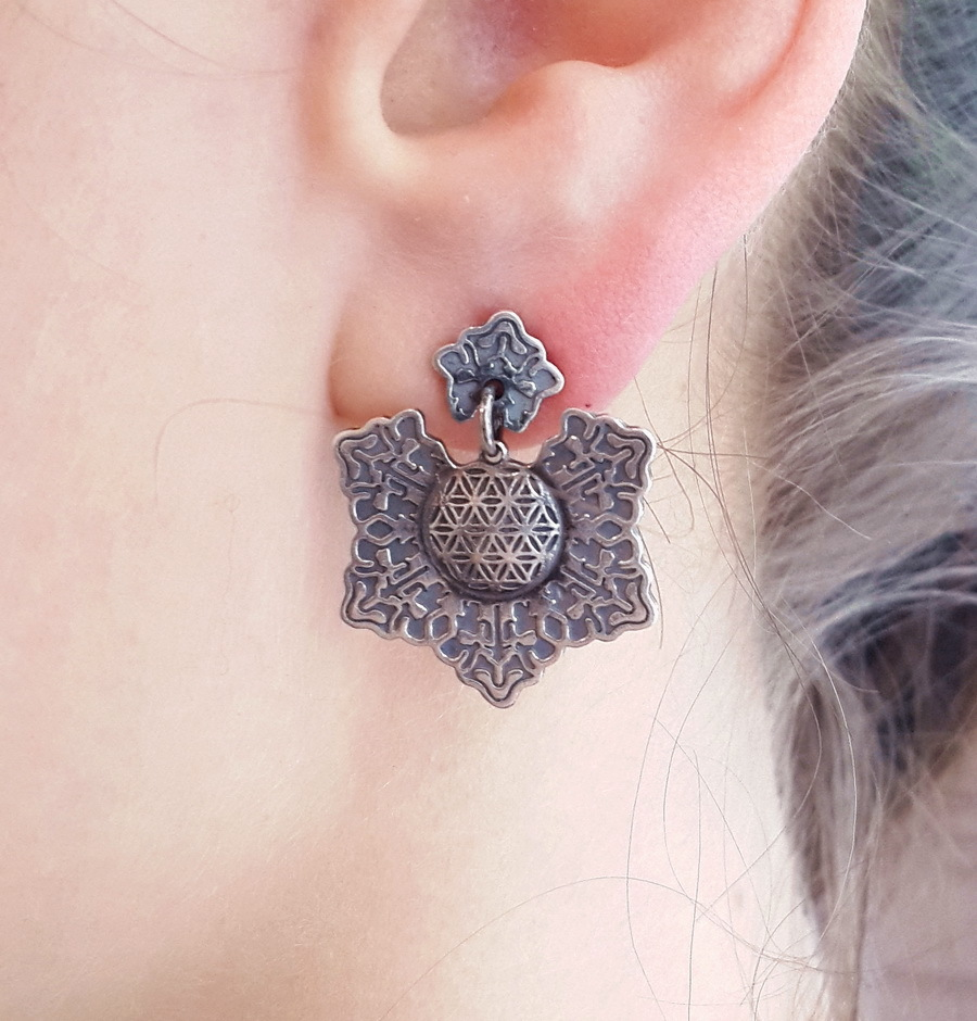 Flower of life earrings, sterling silver
