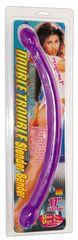 Двусторонний фиолетовый фаллостимулятор Double Trouble - 43 см.