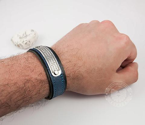 BL457-3 Мужской браслет синего цвета на кнопках, ручная работа
