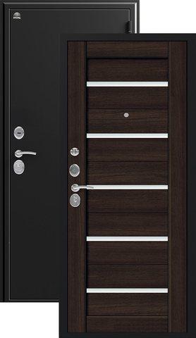 Дверь входная Сибирь S-7, 2 замка, 1 мм  металл, (чёрный шёлк+венге шоколад)