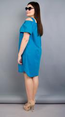 Клариса. Оригинальное платье-рубашка plus size. Электрик.