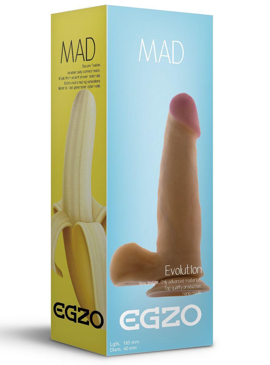 Реалистичные: Телесный фаллоимитатор Mad Banana с мошонкой и подошвой-присоской - 18,5 см.