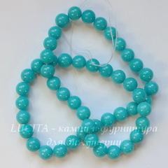 Бусина Жадеит (тониров), шарик, цвет - голубой, 8 мм, нить