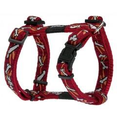 Rogz шлейка нейлон Large 34-46см/ ширина 2см красный/косточки