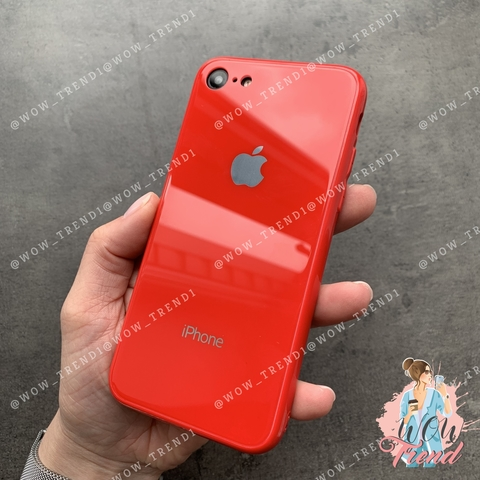 Чехол iPhone 7/8 Glass Full color Case Logo /red/