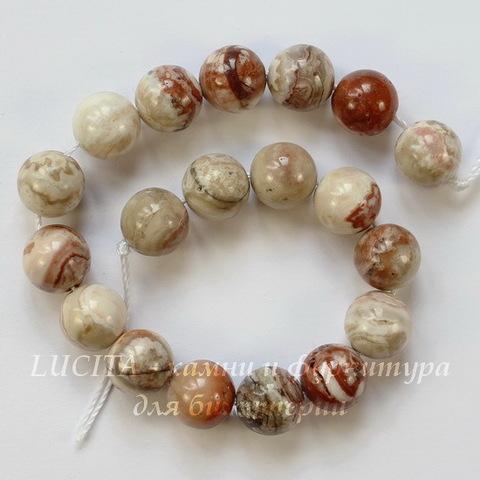 """Бусина Агат """"Крейзи"""", шарик, цвет - бело-коричневый, 10 мм, нить"""