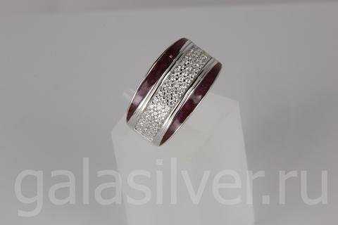 Кольцо с эмалью и цирконами из серебра 925