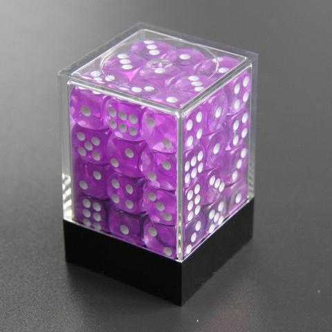 Набор шестигранных кубиков прозрачный сиреневый (36 штук)