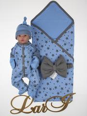 Летний набор на выписку новорожденных из роддома Звездопад (голубой)