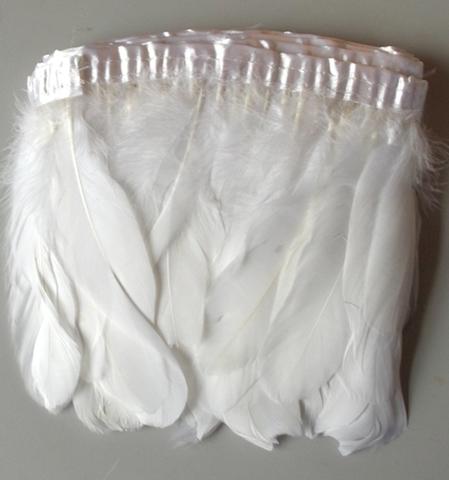 Тесьма  из перьев гуся h-20см., уп. (1,9 - 2) метра, белый