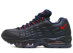 Кроссовки Мужские Nike Air Max 95 Leather Dk Blue Red ( C Мехом)