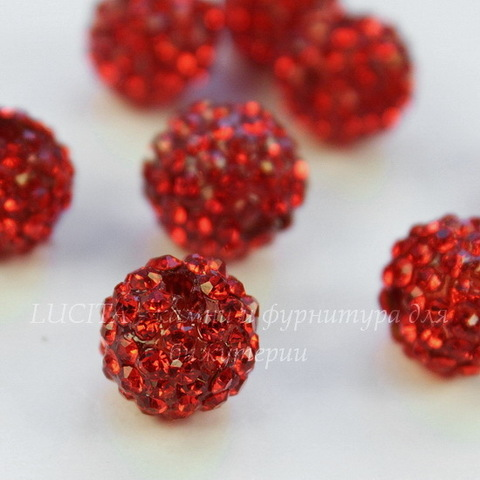 Бусина для шамбалы с фианитами, цвет - красный, 11 мм