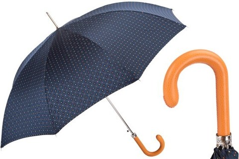 Зонт-трость Pasotti Tie Print Umbrella with Orange Leather Handle, Италия