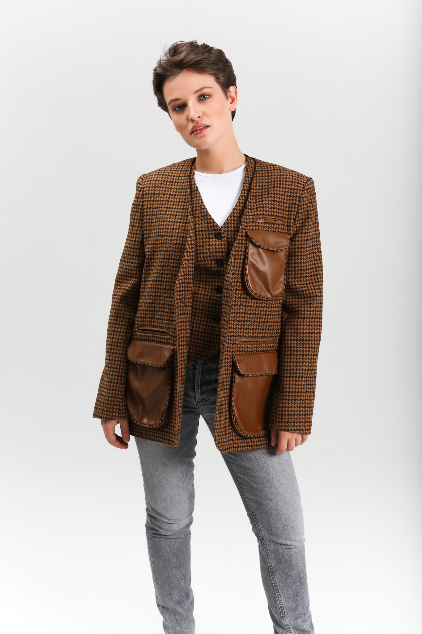 Жакет с кожаными вставками (FW0354)