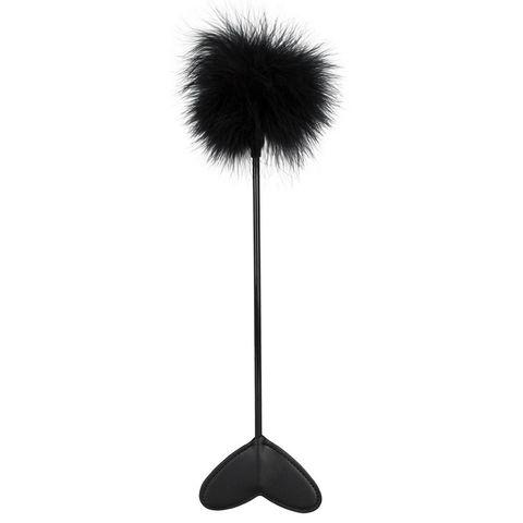 Черная метелка-пуховка с наконечником-сердцем - 25 см.
