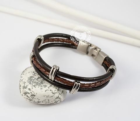 BL414-2 Мужской браслет из искусственной кожи с металлической фурнитурой (21,5 см)