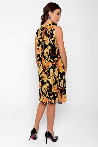 """Шикарное платье для молодой особы. Платье из шифона на трикотажном подкладе. Фасон """"трапеция"""", ворот стойка с драпировкой. По спинке элегантный бант."""