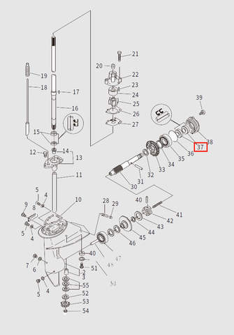 Сальник гребного вала 15x28x6 для лодочного мотора T9.8 Sea-PRO (13-37)