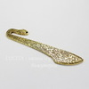 "Основа для закладки ""Цветы"" (цвет - античное золото) 80х19х2 мм"