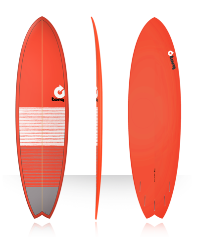 Серфборд TORQ 7'2'' Fish - Lines (red/gray)