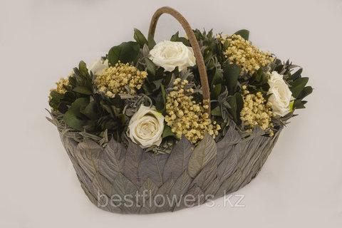 Овальная корзина с цветами 28x18 H21cm