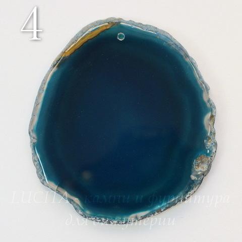 Подвеска Срез Агата (тониров), цвет - зеленовато-синий, 66-92 мм (№4 (68х62 мм))