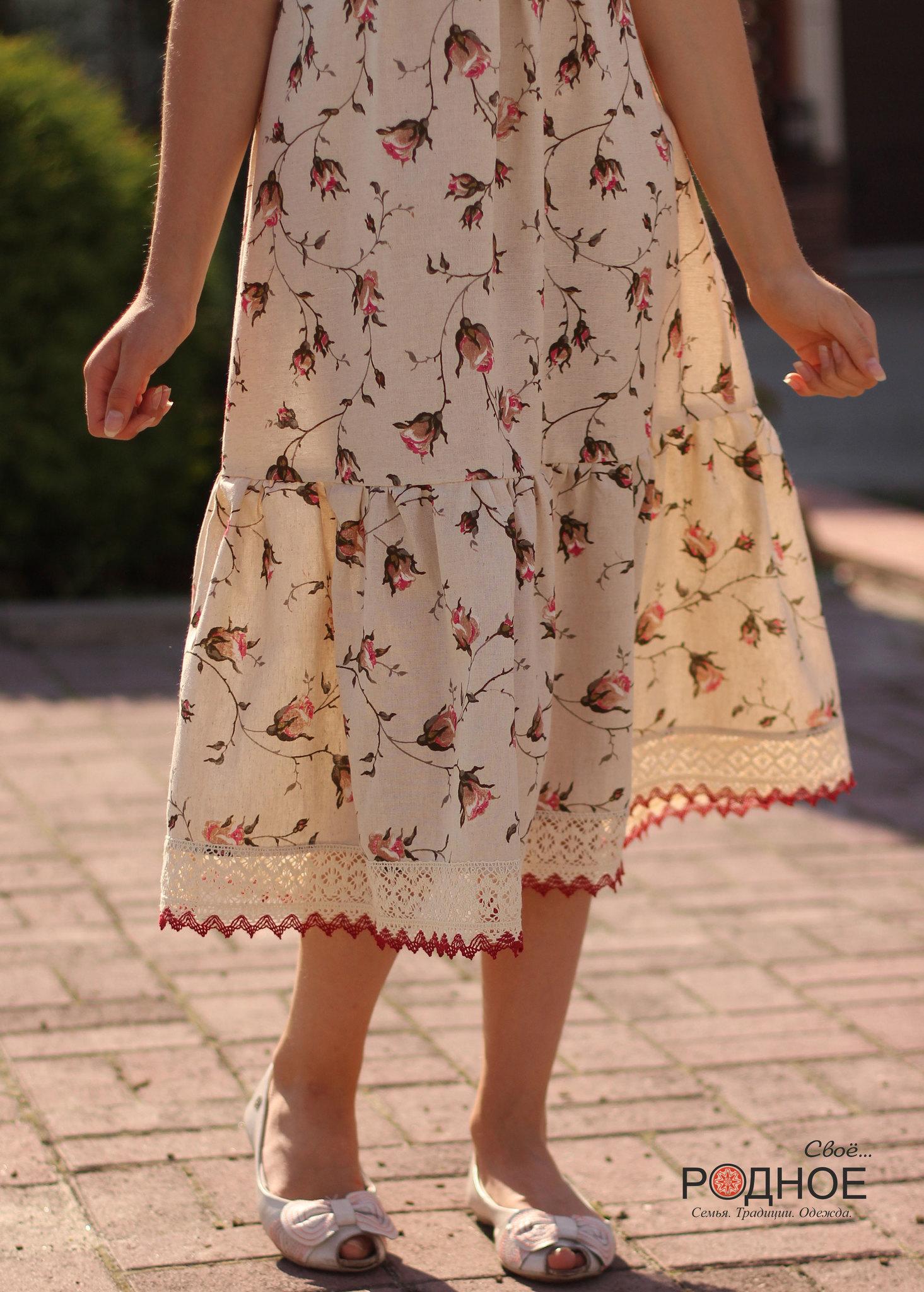 Льняное платье для девочки с кружевом Свое Родное для Иванка