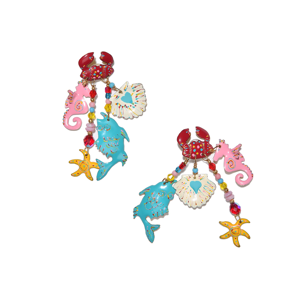 "Серьги «Море» от Lunch at the Ritz  | Lunch At The Ritz ""Sea' Pierced Earrings"