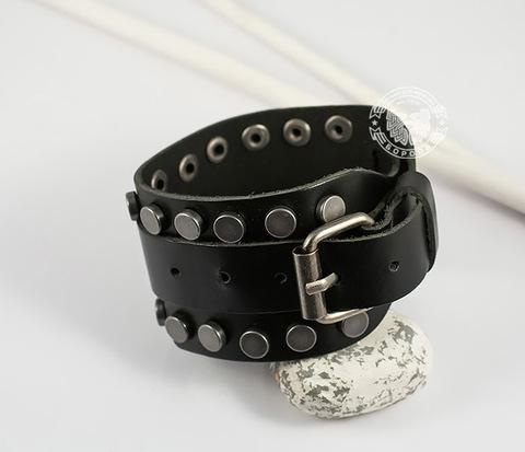 BL416-1 Черный браслет из натуральной кожи с клепками