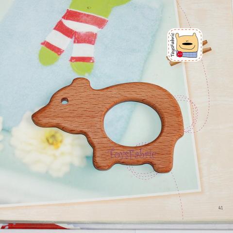 Грызунок деревянный (бук) 10,5х6,5см Медведь ГР09