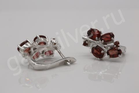 Серьги с гранатом и цирконами из серебра 925