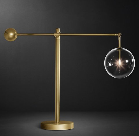 Glass Globe Mobile Lever Table Lamp