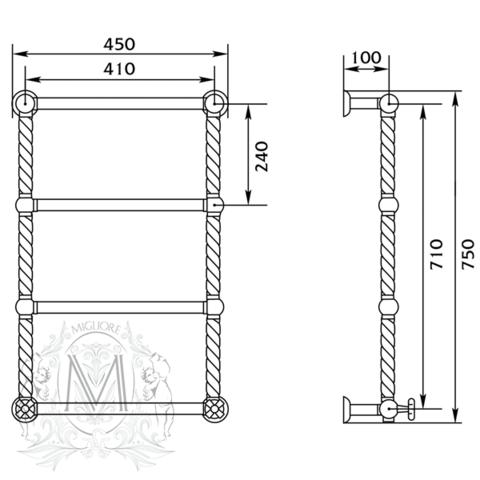 Полотенцесушитель водянной бронза Migliore Edera ML.EDR-HY.200