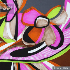 Шелковый серо-коричневый купон с абстрактными цветами