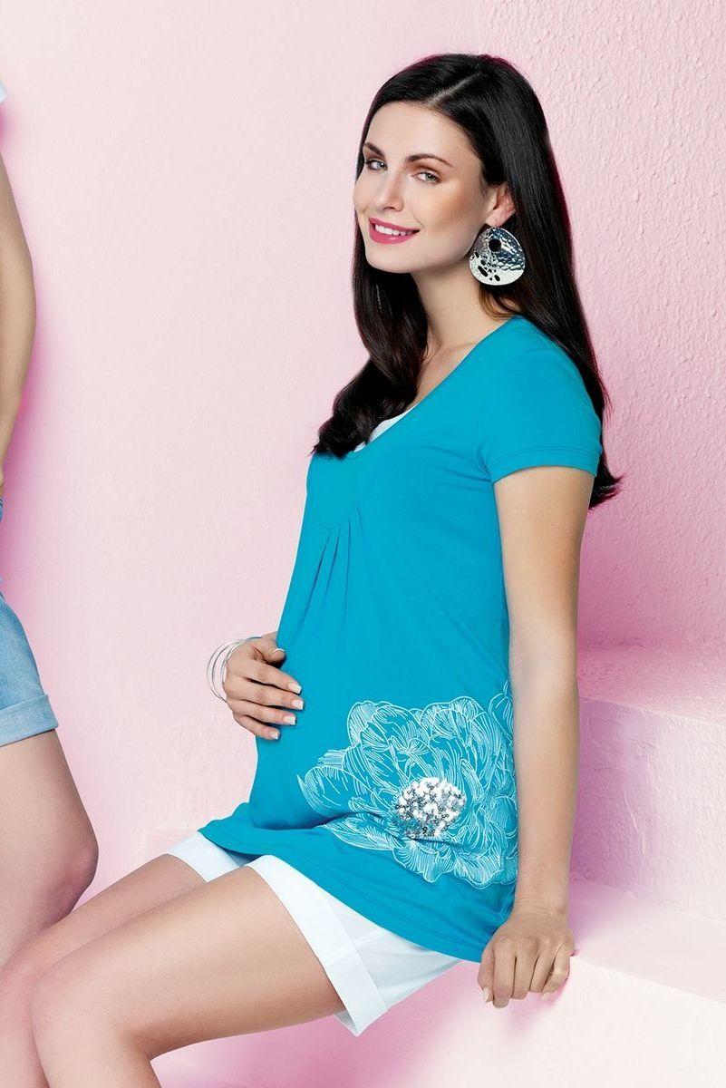 Блузка для беременных 01468 голубой