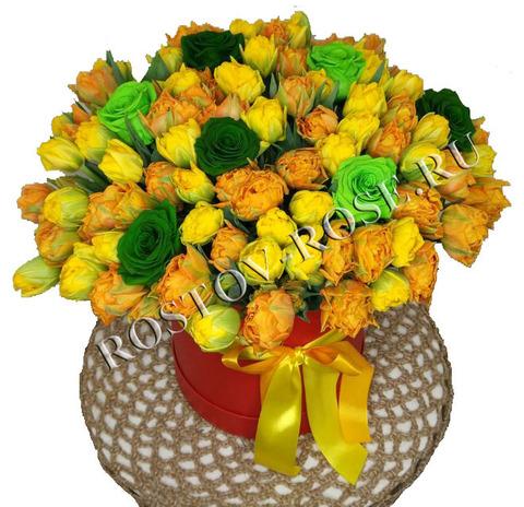 Букет из 101 пионовидного тюльпана в коробке